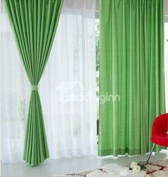 Eco-Fine Top Quality Two- piece Plus Size Bud Green Color Living Room & Bed Room Curtain