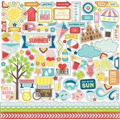 **COMING SOON** Echo Park A PERFECT SUMMER 12x12 Cardstock Stickers - Elements (EP_0413)