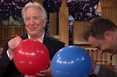 Then, Fallon asked Rickman about Harry Potter. Rickman inhaled the balloon, and the most fabulous thing ever happened: | Alan Rickman AKA Snape On Helium Will Put A Much-Needed Smile On Your Face