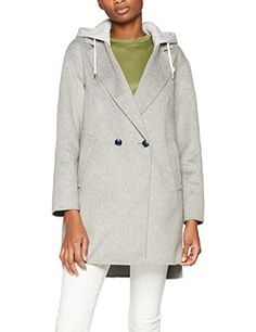 Tommy Hilfiger Ivo DF Hooded Wool Blend Coat Manteau Femme Gris (Light Grey HTR 039) 40 (Taille Fabricant: 38)