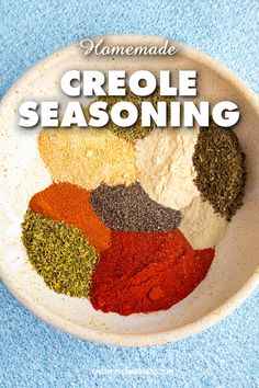 My homemade creole seasoning recipe blends a mixture of chili powders herbs and spices you can use to season just about anything. Learn how to make it your own. Cajun Seasoning Recipe, Homemade Seasoning Salt, Creole Seasoning, Seasoning Mixes, Homemade Spice Blends, Homemade Spices, Spice Mixes, Homemade Recipe, Etouffee Recipe