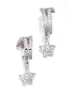 Pair of Diamond 'Shooting Star' Pendant Earrings, Chanel