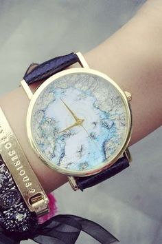Fashion World Map Print Quartz Water Resistance Watch - Beautifulhalo.com