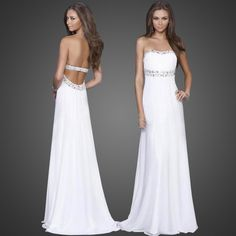 White Backless Strapless Evening Party Long Dress Formal Gowns