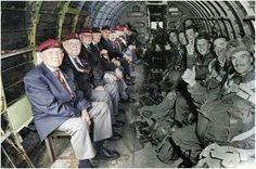 World War II paratroopers sitting across from themselves in the same plane that dropped them into Normandy on D-Day. Thank you for your brave service to our nation. D-Day - June 1944 My Champion, Montage Photo, Real Hero, World War Ii, In This World, Fun Facts, Cool Pictures, Funny Pictures, Powerful Pictures
