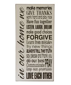 This Cream & Brown 'In Our Home' Wall Sign is perfect! #zulilyfinds
