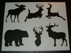 Stencil-Wildlife-Theme-Bear-Deer-Moose-Elk-Stencils-Signs-Pattern