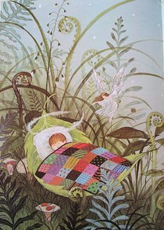 illustration by Gyo Fujikawa of a baby asleep dreaming in a garden Art And Illustration, Book Illustrations, Book Of Poems, Vintage Children's Books, Fantasy Art, Book Art, Fairy Tales, Artsy, Drawings
