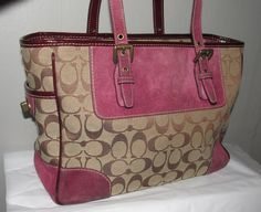 10-Coach Khaki/Purple Signature Gallery Tote - 1443. Starting at $25