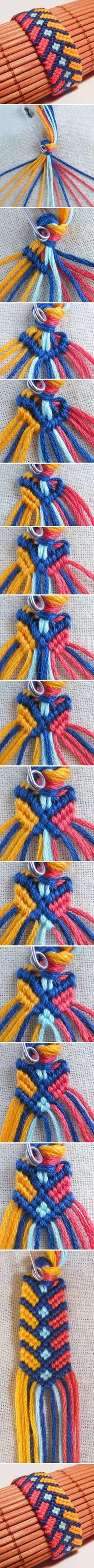 DIY Stylish Square Knot Macrame Bracelet #DIY #fashion #bracelet #Macrame
