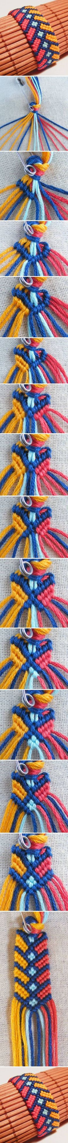 DIY Stylish Square Knot Macrame Bracelet #DIY #fashion #bracelet #Macrame