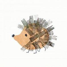 Igel mit aufgedruckten Stacheln - eine von vielen Ideen für Drucktechniken mit Kindern