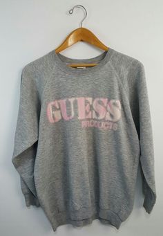 Vintage 1987 GUESS Products Crewneck Women's Sweatshirt Size L Very Thin Soft #GUESS #Everyday