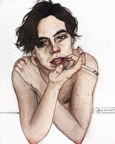 "2,958 Likes, 296 Comments - xoxo, Vilde (@vil.de) on Instagram: ""tag @colesprouse? - #colesprouse #watercolor #painting #drawing #riverdale"""