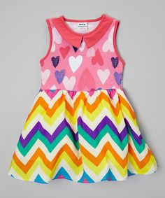 Look at this Pink & Orange Chevron Dress - Infant, Toddler & Girls on #zulily today!