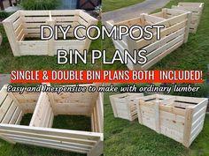 DIY Single & Double Compost Bin Plans With Adjustable Front Slats - Modern Compost Diy, Compost Toilet Diy, Build Compost Bin, Compost Bucket, Composting 101, Compost Tumbler, Garden Compost, Planting Vegetables, Vegetable Garden