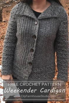 Free crochet Weekender Cardigan by www. In sizes for . - A collection of crochet patterns, tips, supplies, amigurumi ideas and more. Crochet Bodycon Dresses, Black Crochet Dress, Knit Or Crochet, Crochet Sweaters, Crochet Tops, Crochet Shawl, Crochet Cardigan Pattern, Crochet Patterns, Sweater Patterns