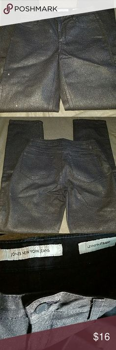 Jones New York Jeans Black sparkle.  Lexington straight.   Inseam 32 Jones New York Jeans Straight Leg