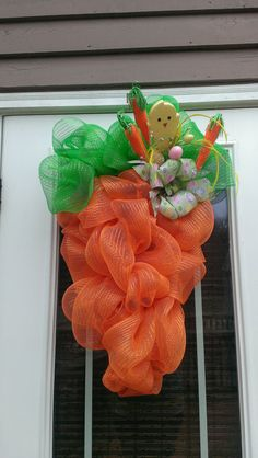 Easter Inspired Deco Mesh Carrot Shaped Wreath with by MisSuenos, $40.00