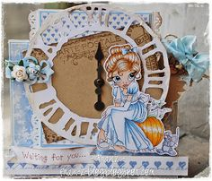 """Franz-Blog: Saturated Canary ~ ♥Card  Recipe ♥  Stamps: Digi Stamp from Saturated Canary-Christa Smith """"Cinderella"""" – Stempelglede """"Vintage Gardel"""" Inks: Versafine-""""Vintage Sepia""""; Copic: Hair: E50-E51-E53-E37-E33;            Skin: E000-E00-E11-R20 (for cheeks);            Dress: B000-B91-B93-C1-C3; Dies: Sizzix Tim Holts  """"Weathered Clock"""", Magnolia """"Vintage Tag""""; Other: Maja Design  Patterned Papers,  Vintage Ribbon, flowers and Charm from Wild Orchid Crafts,  Twine, Papertrey ribbon."""