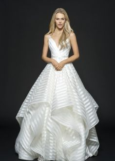 Style 6661 Decklyn Hayley Paige bridal gown - Ivory striped organza bridal ball gown, draped ballerina bodice with curved V-neckline, open back with cut-out detail, full cascading skirt. Organza Bridal, Wedding Dress Organza, Bridal Dresses, Lace Dress, Gown Wedding, Wedding Venues, Big Dresses, Ivory Wedding, Tulle Wedding