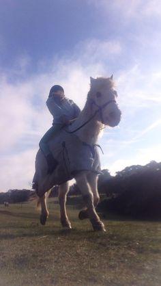 Riding Mikkie backwards