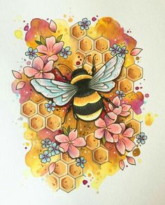 Drawing of Bumble Bee in Flowers. Square drill, 8 kit sizes to pick from. color DIY Diamond Painting Drawing of Bumble Bee in Flowers - craft kit Painting & Drawing, Bee Painting, Painting Tattoo, Kunst Tattoos, Print Tattoos, Animal Paintings, Art Paintings, Bumble Bee Tattoo, Honey Bee Tattoo