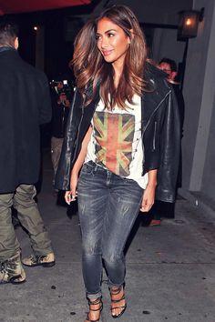 Nicole Scherzinger at Craig's Restaurant #leatherjacket