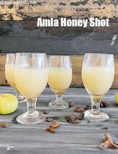 Amla Honey Shot ( Party Drinks ) recipe Amla Recipes, Ayurvedic Recipes, Healthy Juice Recipes, Healthy Detox, Gooseberry Recipes, Pink Lemonade Recipes, Honey Bottles, Indian Drinks