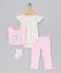 Look at this #zulilyfind! Pink Bow Bodysuit Set by chick pea #zulilyfinds