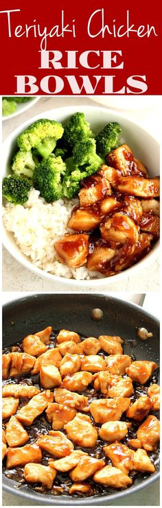 Quick and Easy Teriyaki Chicken Rice Bowls - sweet, garlicky chicken served with steamed broccoli and rice. This Asian chicken dinner recipe is better than takeout and made with just a few ingredients! Quick Chicken Dinner Recipes, Asian Dinner Recipes, Chicken Rice Recipes, Steamed Broccoli Recipes, Easy Chicken And Rice, Diet Dinner Recipes, Chicken Broccoli Rice, Easy Asian Recipes, Steamed Chicken