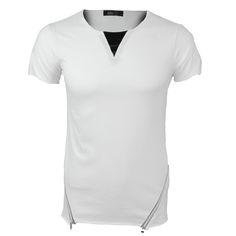 Zipper T-Shirt White €12,99 http://mymenfashion.com/zipper-t-shirt-white.html