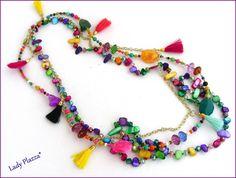 Collier/Sautoir multicolore - Pompons, perles Nacre et cristal : Collier par ladyplazza