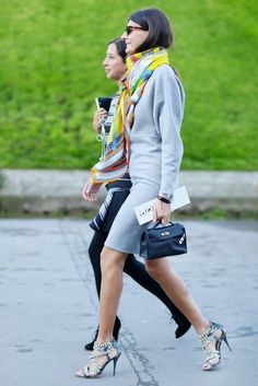 Fabulous scarf and heel combo with suit