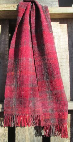 Handspun Handwoven Scarf - with some notes on how she spun both warp and weft to get even color changes to create the muted tartan (weft color repeats about 1/8 as long as warp)