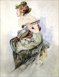 """Art by Alphonse Mucha (1899) - """"Aquarelle Originale,"""" from frontispiece of """"Le Pater"""""""