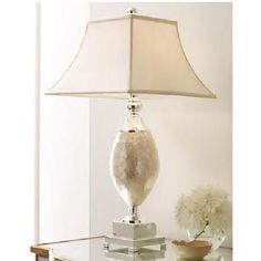 Mother Of Pearl Table Lamp Square Champagne Lampshade Horchow Ivory Light New
