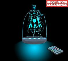 Batman Night Light LED 12 Colors With Interactive Remote Warner Bros