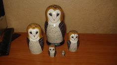 """BARN OWLS"" 5pc wooden hand painted lacquered russian matreshka nesting dolls #Unbranded"