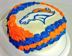 Superbowl 48, Denver Broncos Cake.  Let's go Broncos! Took me a long time, but anything to support my Broncos!