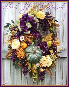 XXL Eggplant Purple, Gold and Moss green Elegant Tuscan Fall Wreath, Pumpkin, Extra large, Wisteria, Pear, Thanksgiving, Autumn, rustic by IrishGirlsWreaths on Etsy