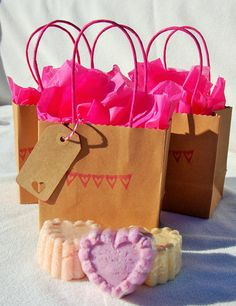 3 large Fizzing Bath Melts or Bath Bombs Gift Set for bath time fun. Comes with a cute bag, tag, and tissue paper