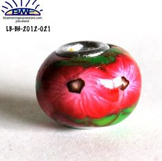 Euro Style Bead Ruby Red Pink Flower Large by polymerclaybeads, $3.50