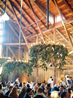 Magnificent Greenery Chandeliers at this Elegant Barn Wedding - Photography: Jose Villa | Floral Design by FlowerWild.com | See the wedding on SMP: http://www.stylemepretty.com/2014/02/06/elegant-carmel-wedding-with-photography-by-jose-villa-ii/