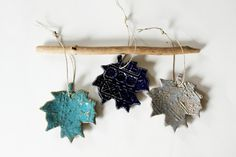 Colorful Hanging Leaves Set of Three  by MissPottery on Etsy.   Colors for powder room?