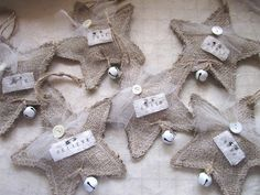 I've got a bunch of burlap!!! A couple of big pieces and a bunch already cut in small squares. Set of 6 Burlap Christmas Star Ornaments