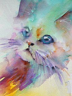 acuarela gato azul - Buscar con Google