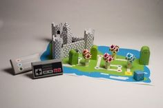 Homemade paper Mario board game.