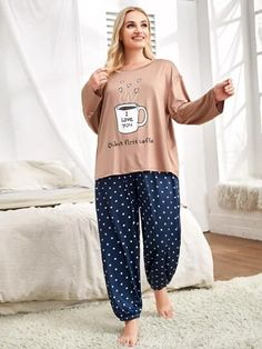 Robe de nuit avec motif slogan | SHEIN Satin Pyjama Set, Satin Pajamas, Pajama Set, Pajama Pants, Mens Pants Sizes, Mens Pants Size Chart, I Loved You First, Love Yourself First, Buttons
