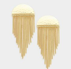 Stylish Gold Or Silver Metal Fringe & Hammered Semi Circle Earrings  #Unbranded #DropDangle